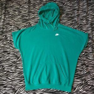 Teal Nike Cowl-Neck Short-Sleeve Sweatshirt